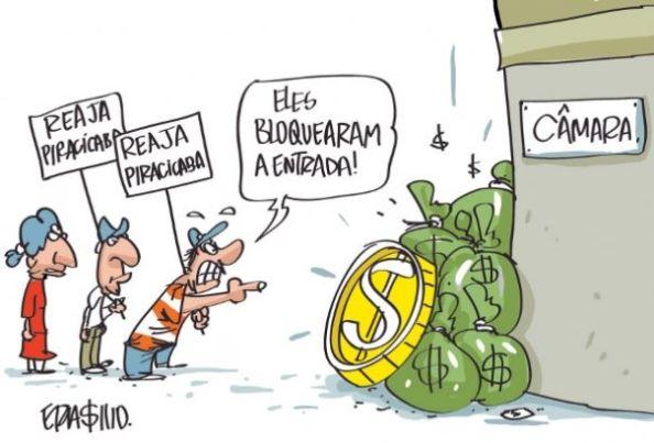 Caricatura de Erasmo. Jornal de Piracicaba. Todos os direitos reservados.