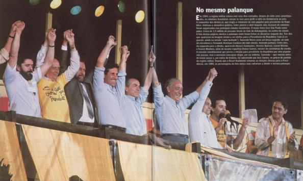 Políticos das mais diversas correntes e partidos em comício na Candelária. Fonte: http://www.blogdosarafa.com.br/?p=19913