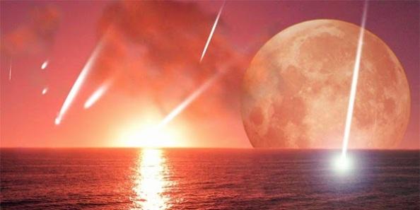 lua vermelha no mar